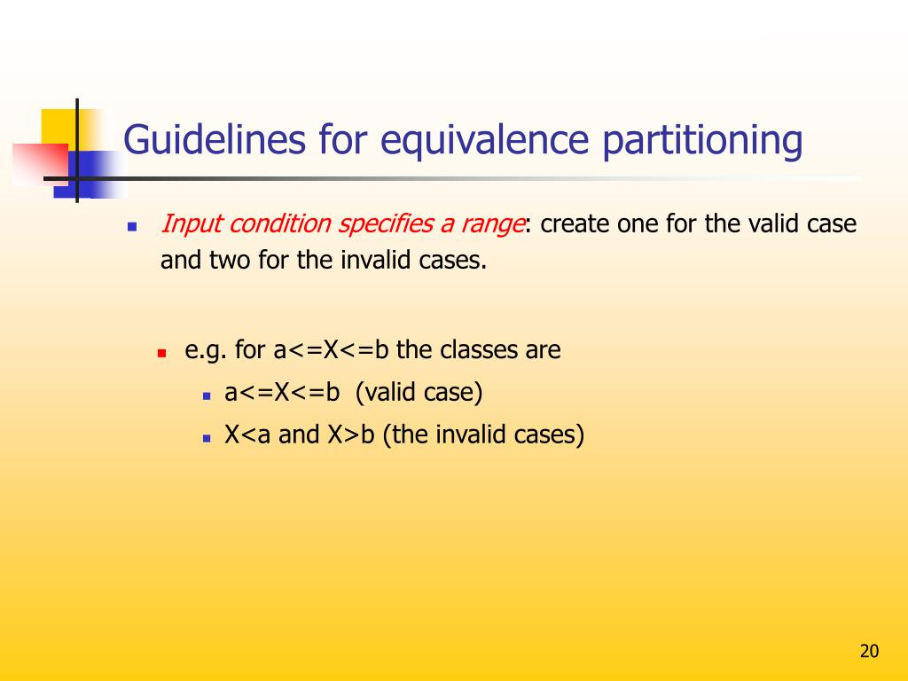 Guidelines for equivalence partitioning