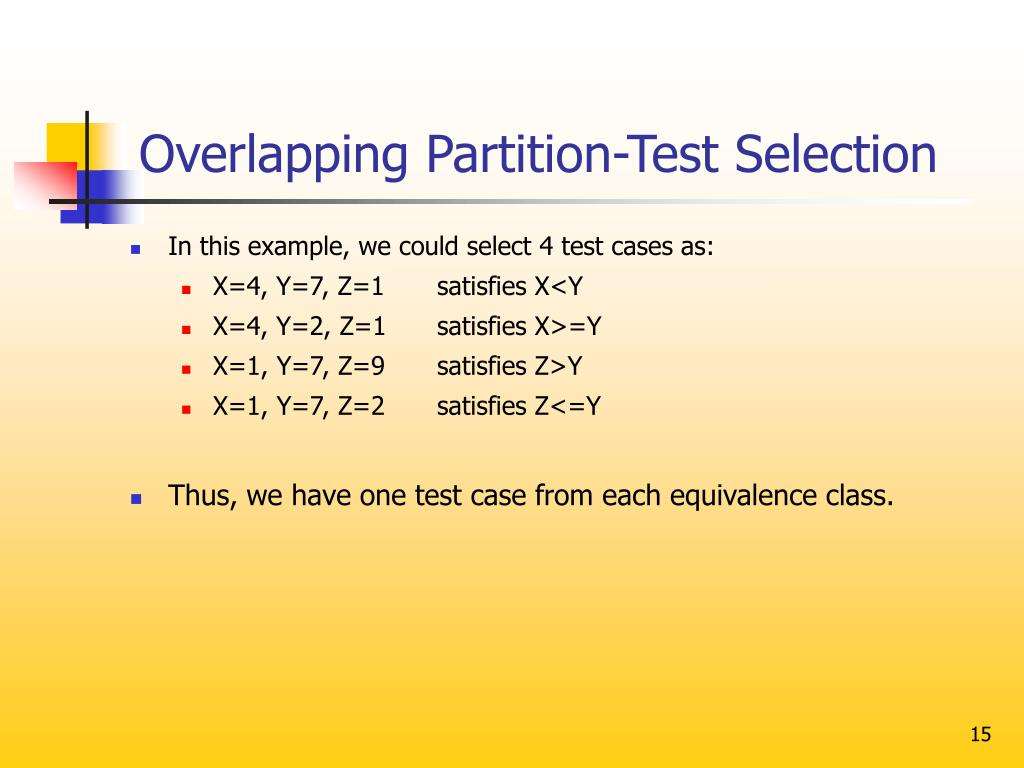 Overlapping Partition-Test Selection