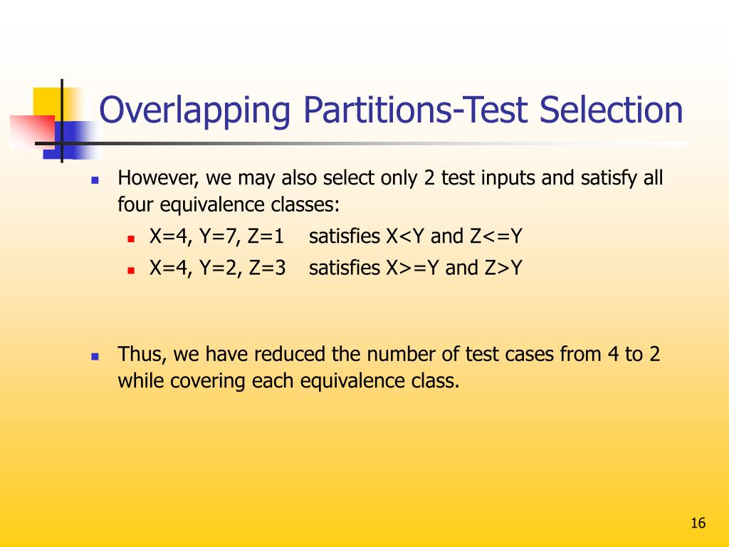 Overlapping Partitions-Test Selection