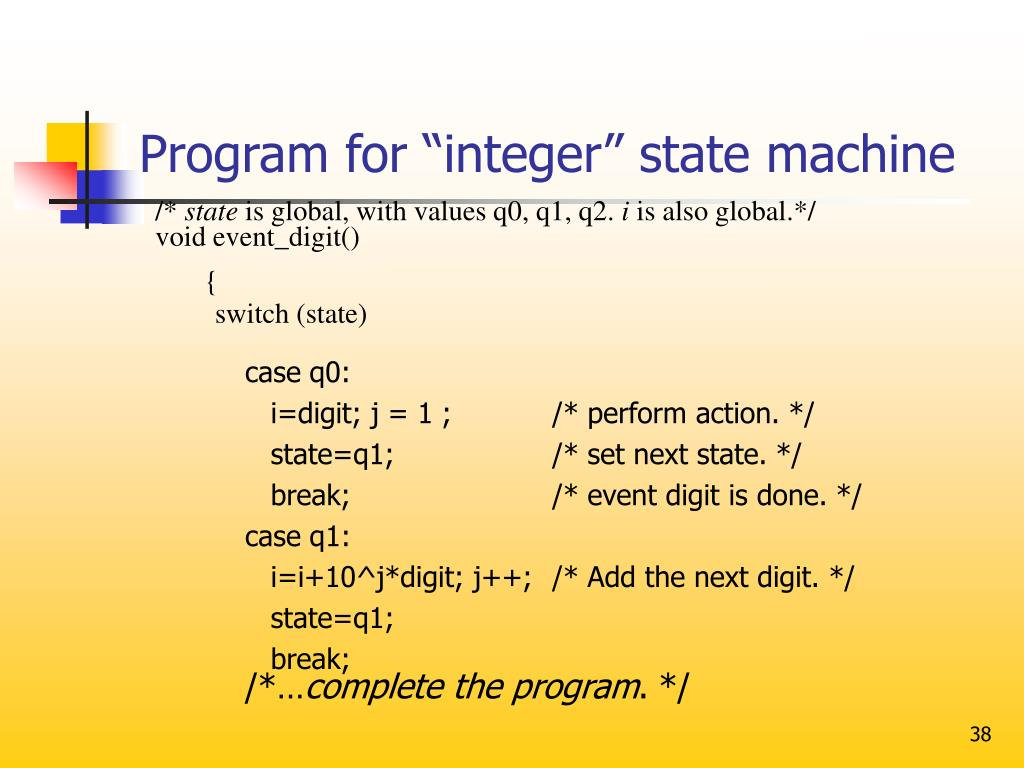 "Program for ""integer"" state machine"