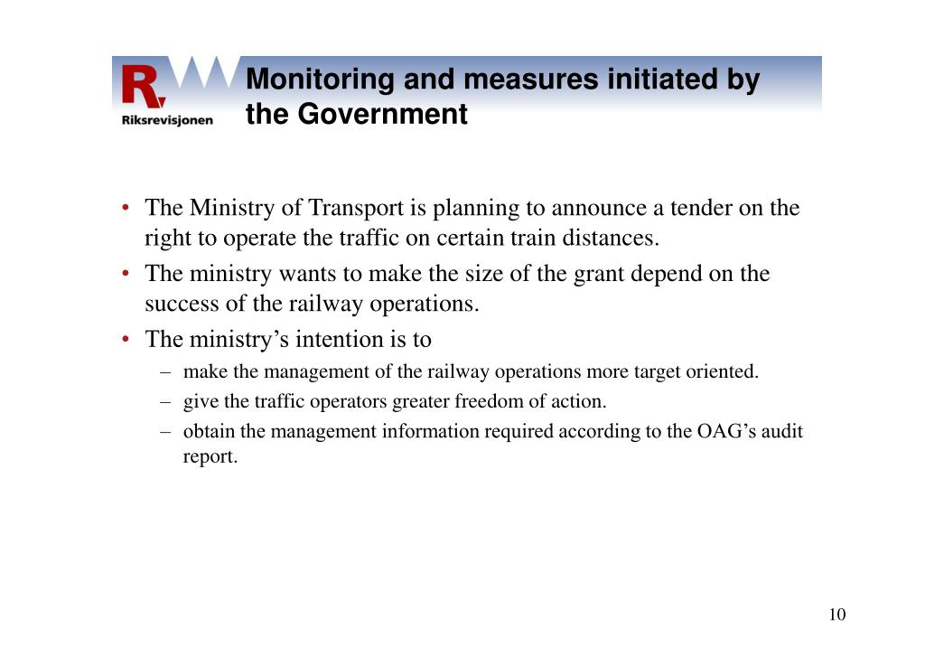 Monitoring and measures initiated by the Government