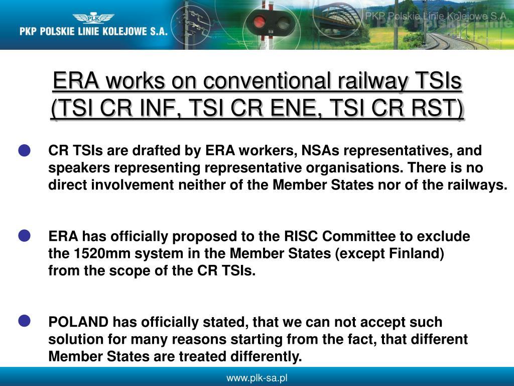ERA works on conventional railway TSIs