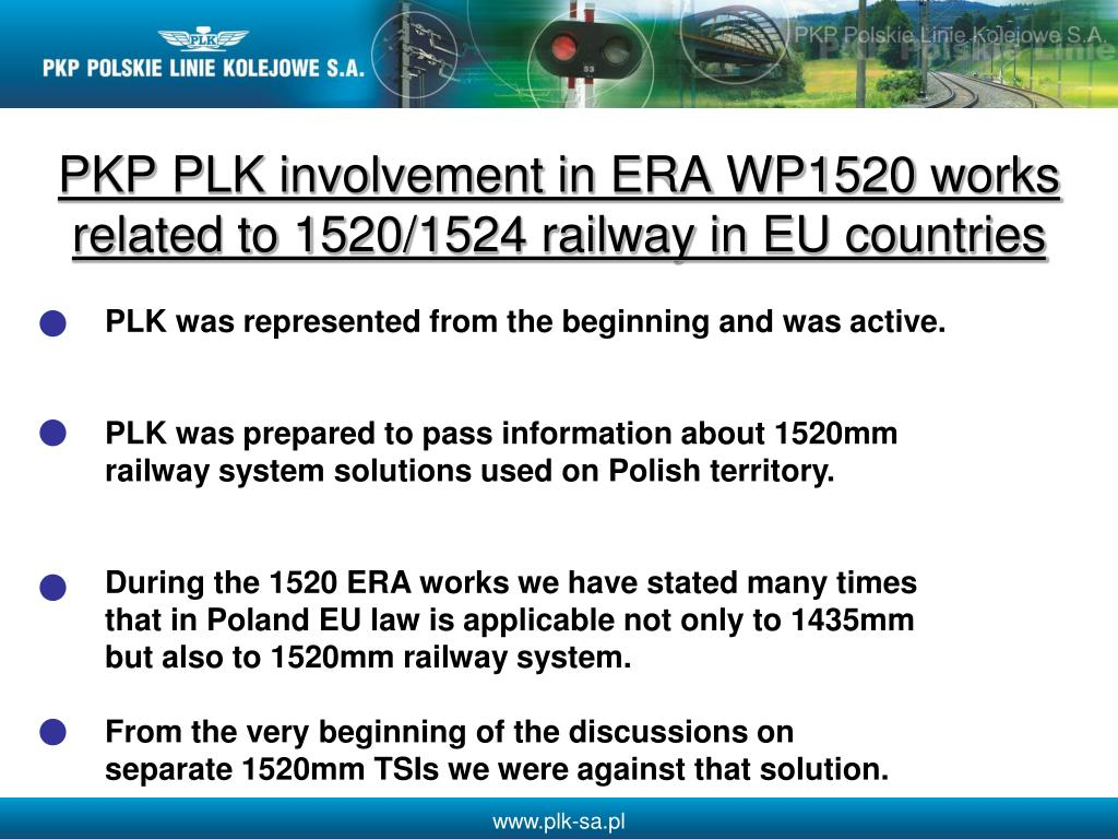 PKP PLK involvement in ERA WP1520 works related to 1520/1524 railway in EU countries