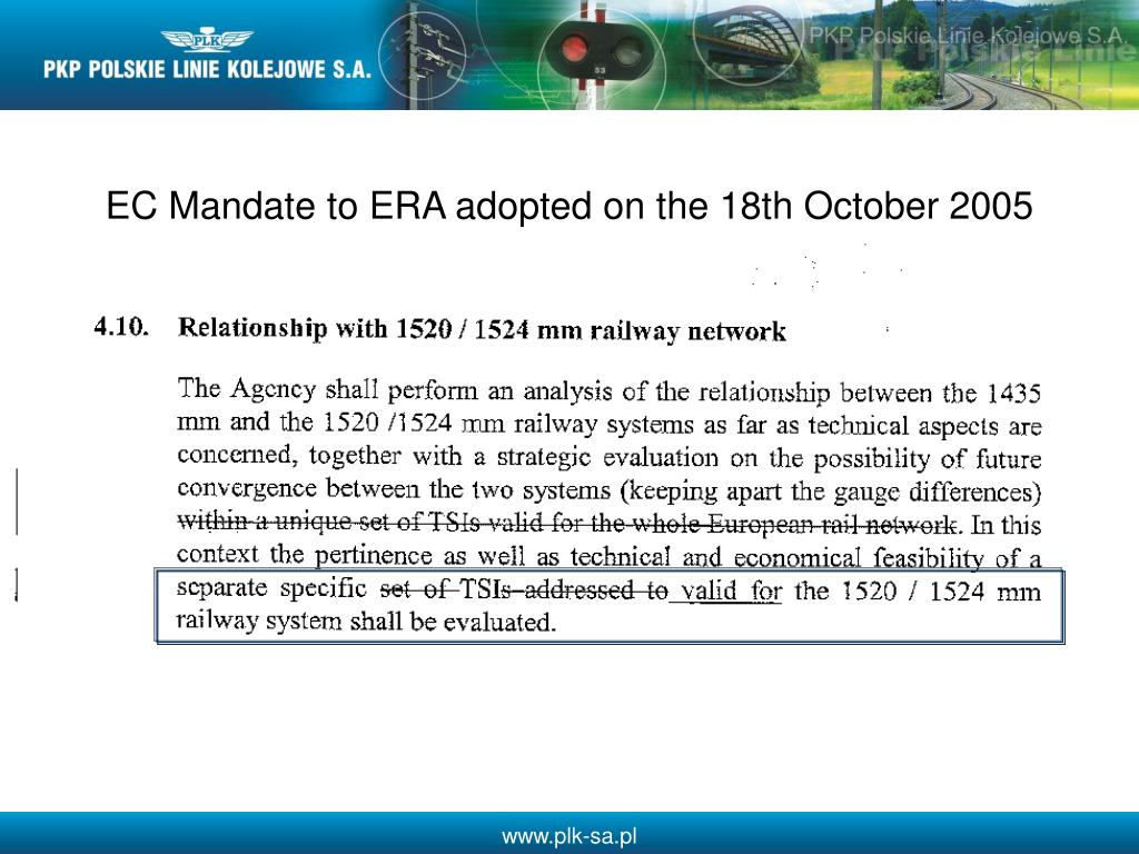 EC Mandate to ERA adopted on the 18th October 2005