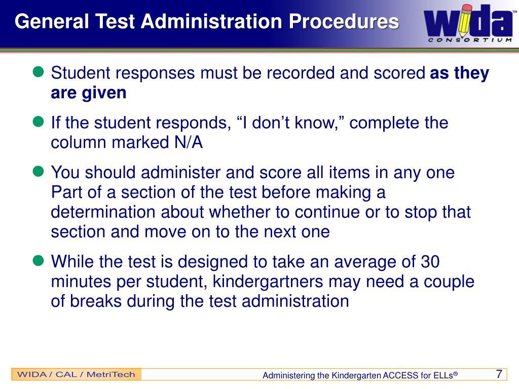 General Test Administration Procedures