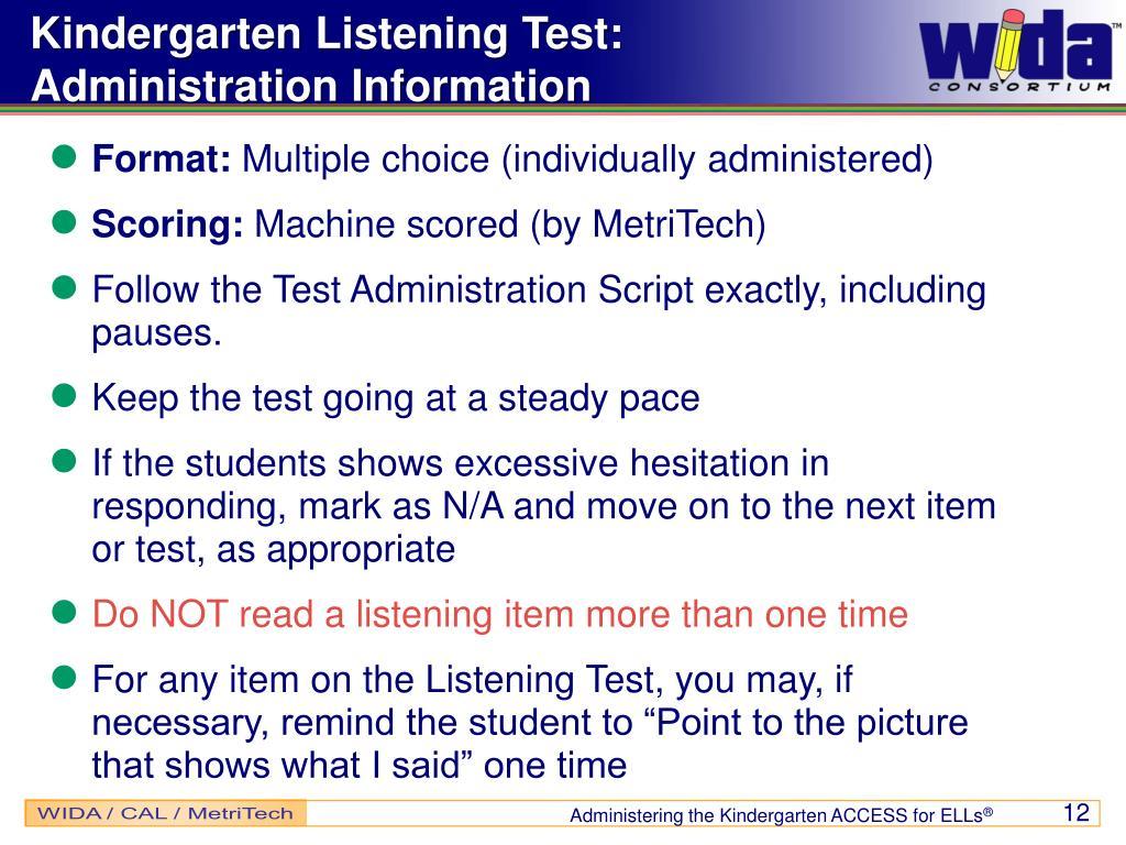 Kindergarten Listening Test: