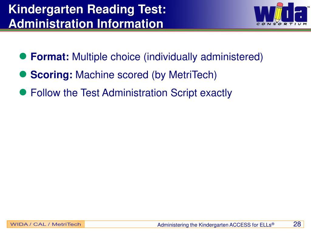 Kindergarten Reading Test: