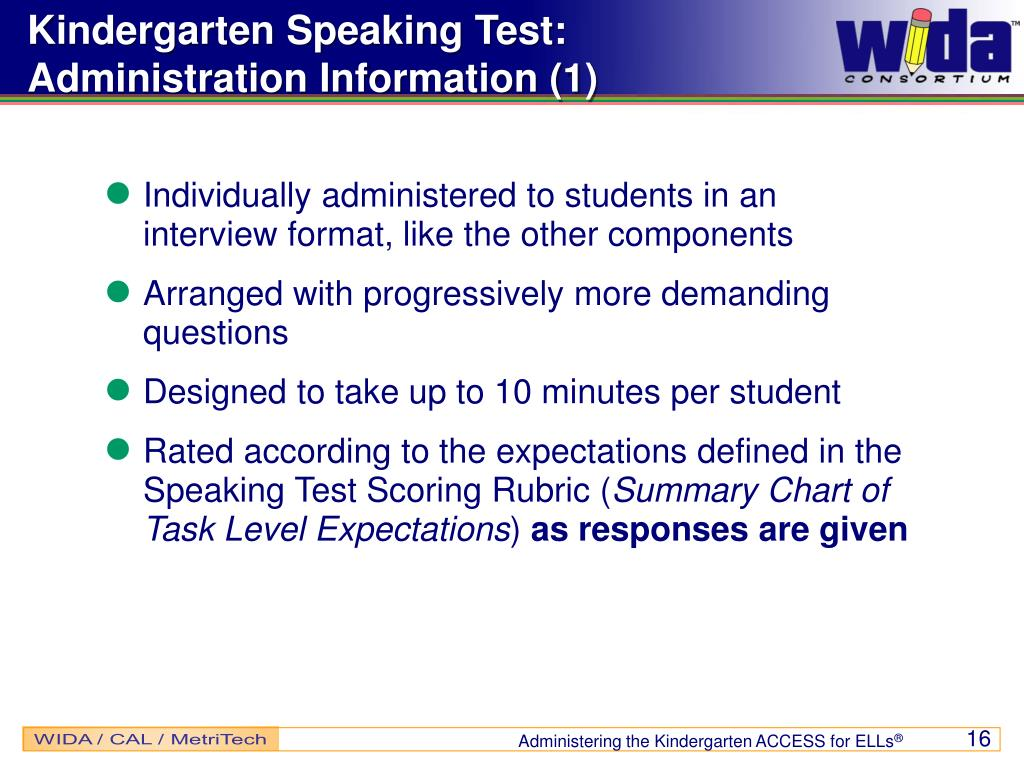 Kindergarten Speaking Test: