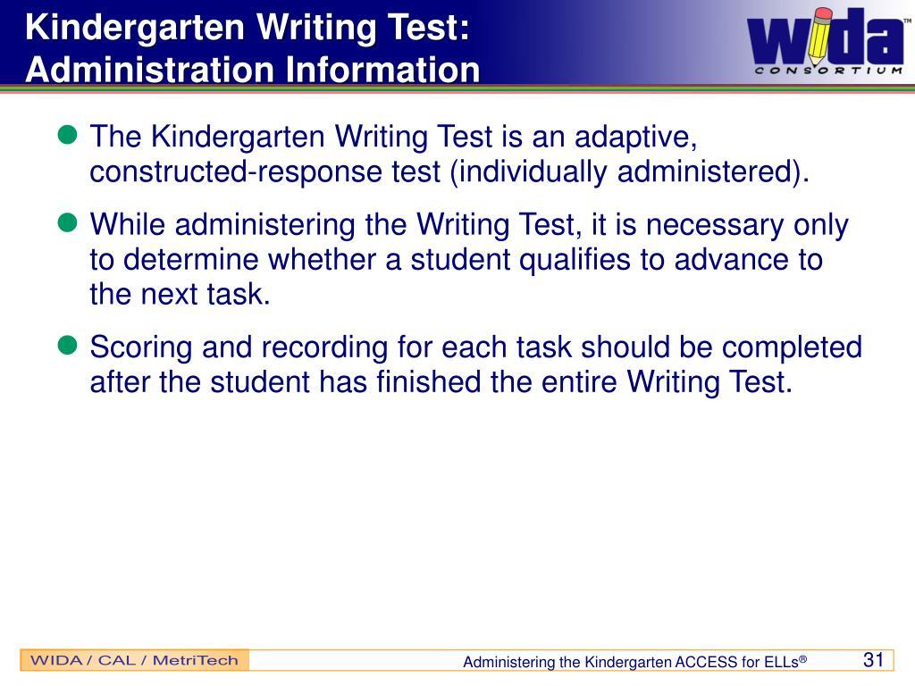 Kindergarten Writing Test: