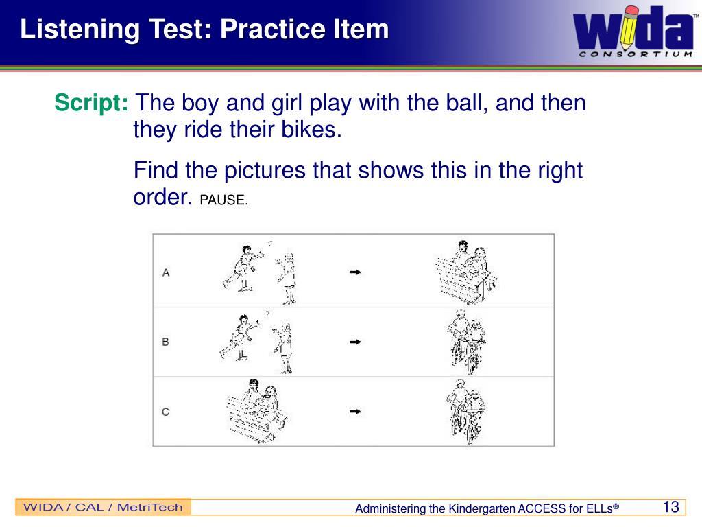 Listening Test: Practice Item