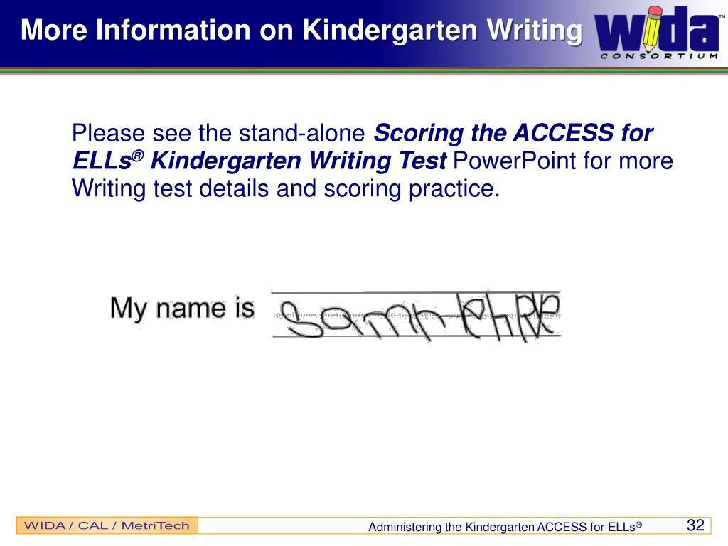 More Information on Kindergarten Writing