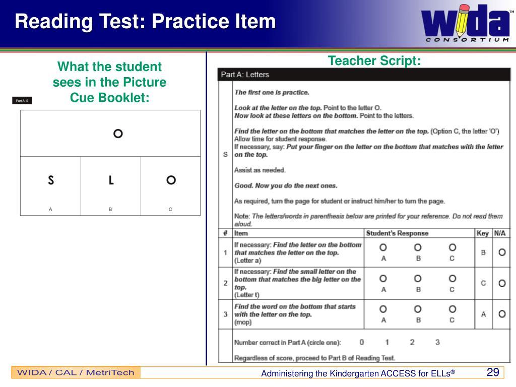 Reading Test: Practice Item