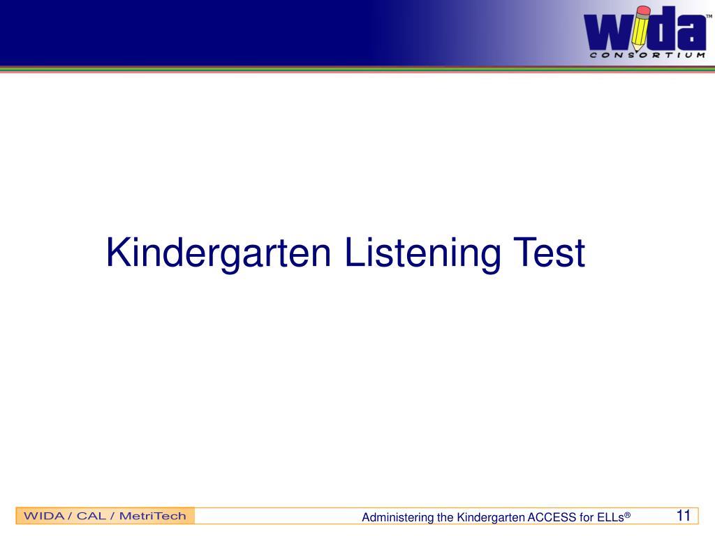 Kindergarten Listening Test