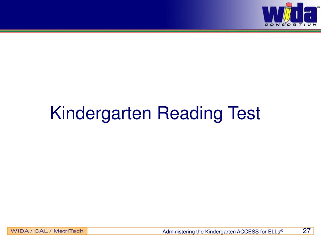 Kindergarten Reading Test