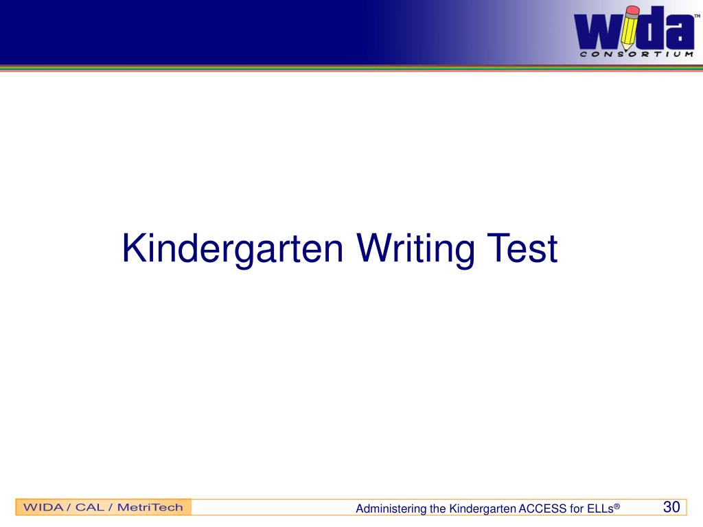 Kindergarten Writing Test