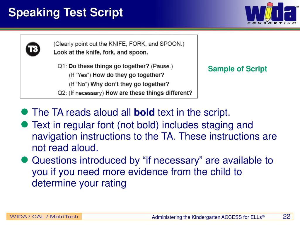 Speaking Test Script