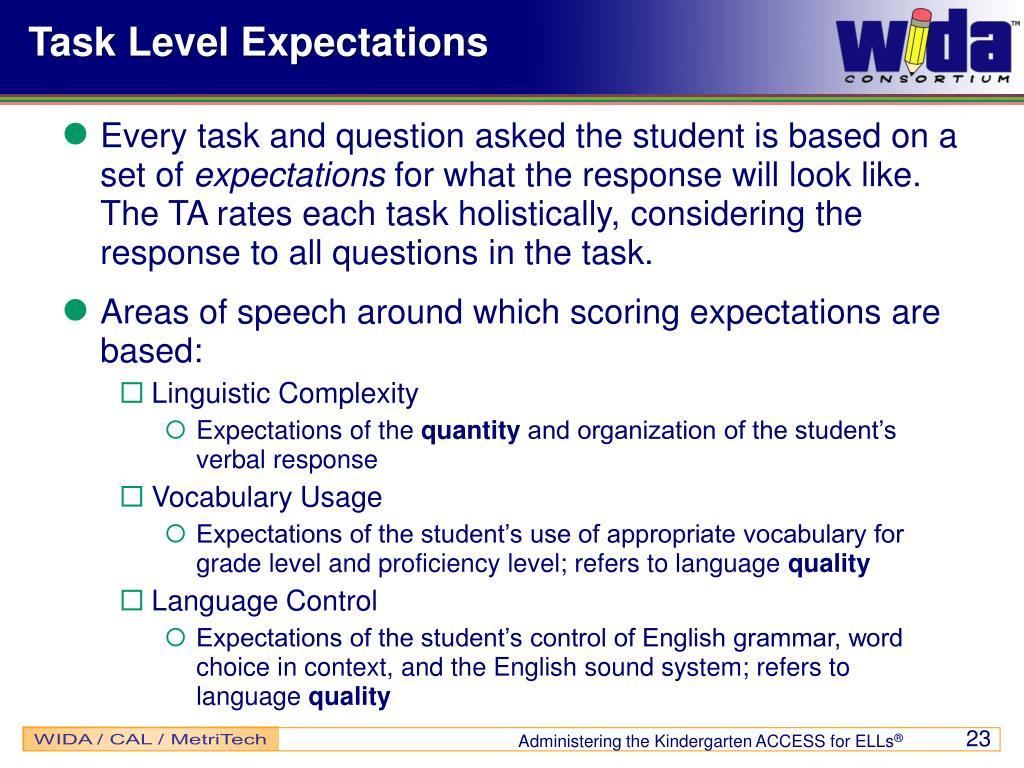 Task Level Expectations