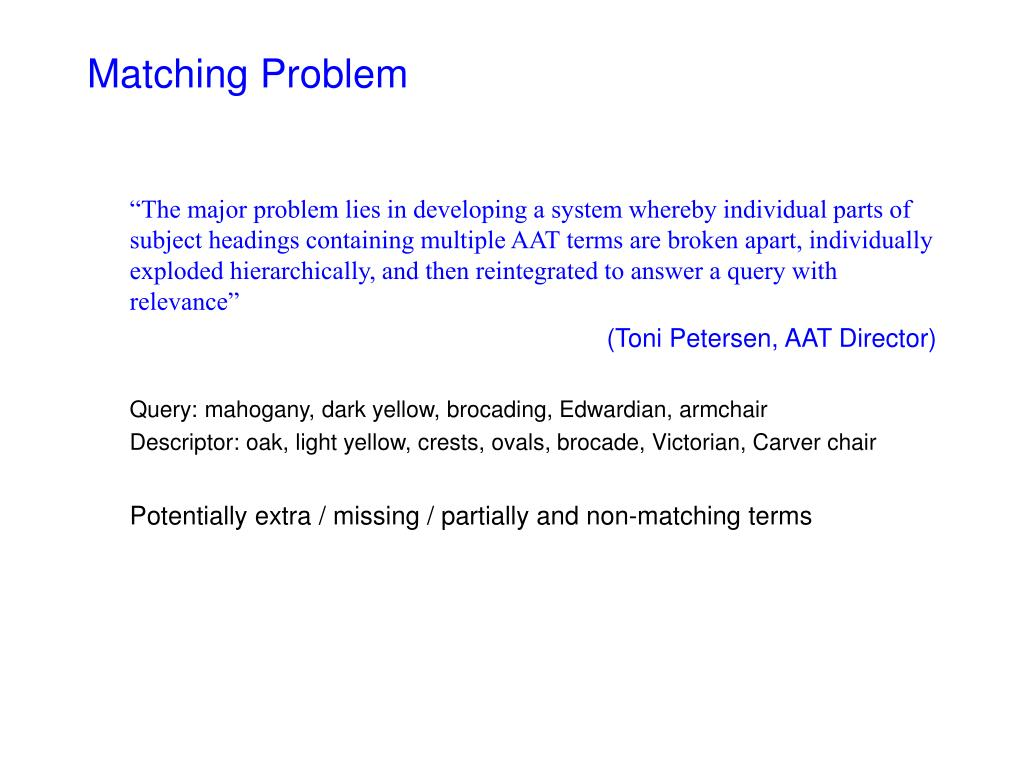 Matching Problem