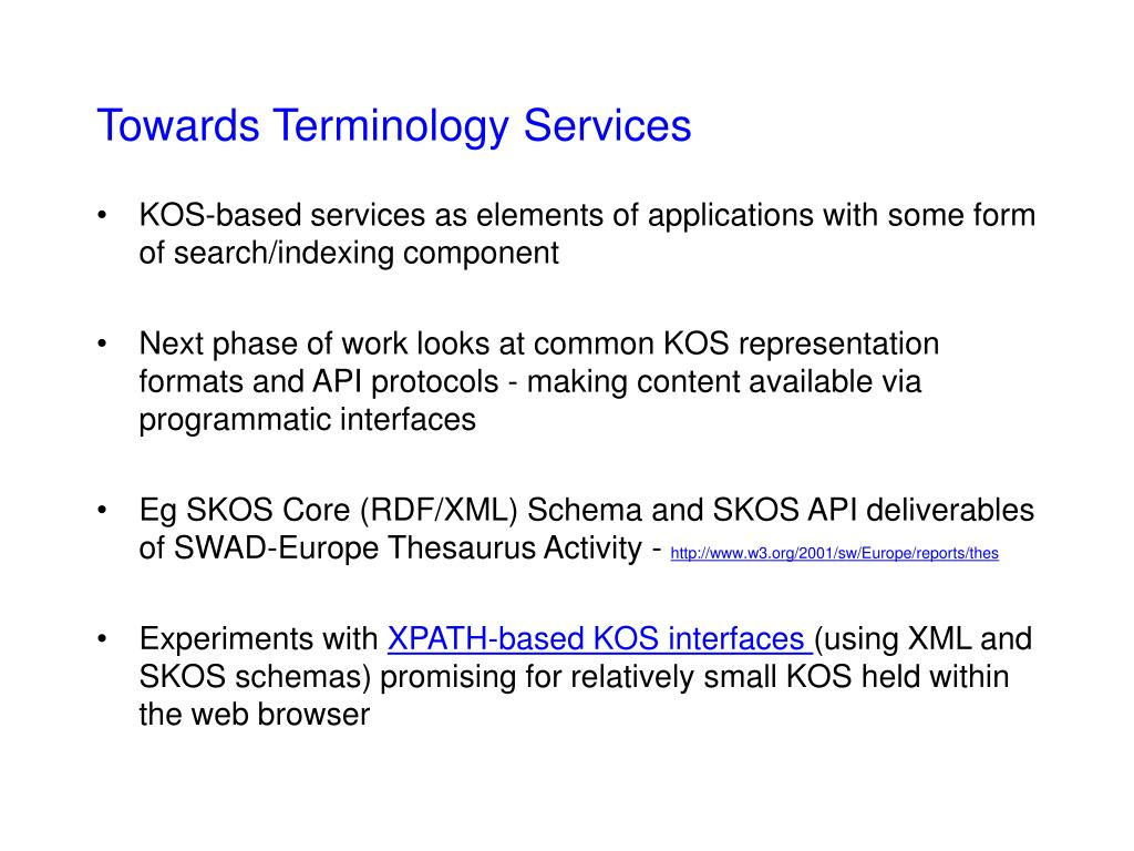 Towards Terminology Services