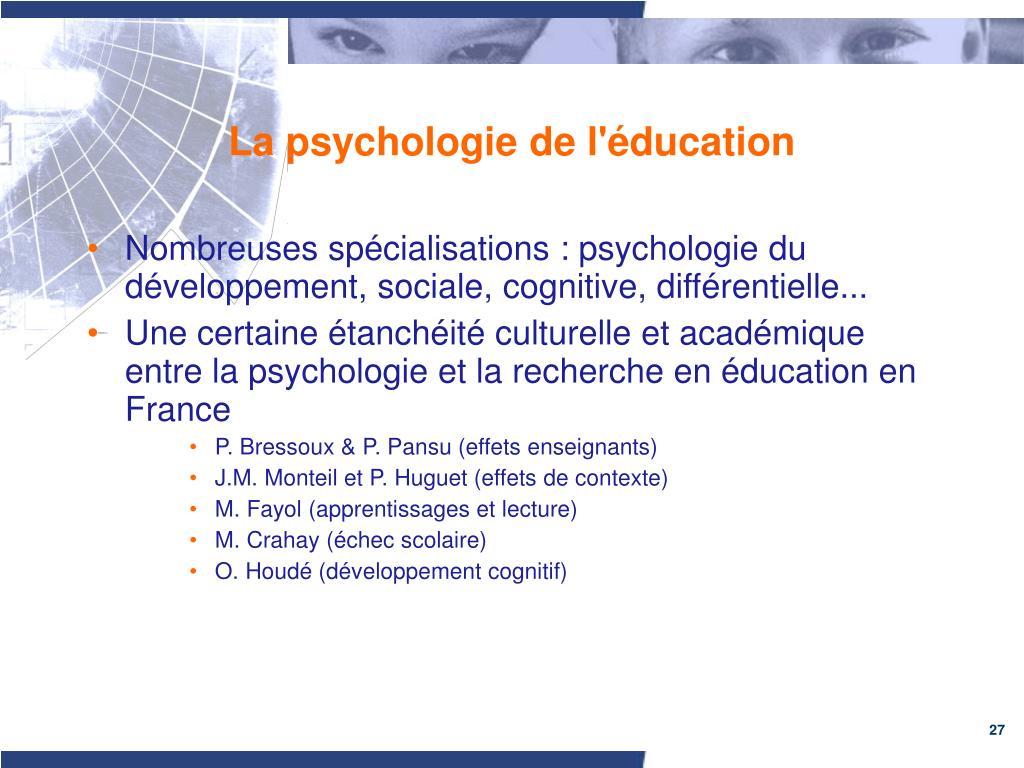 La psychologie de l'éducation