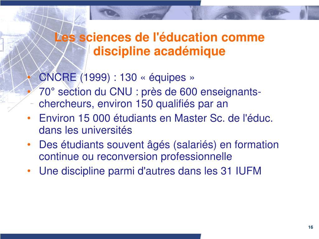 Les sciences de l'éducation comme discipline académique