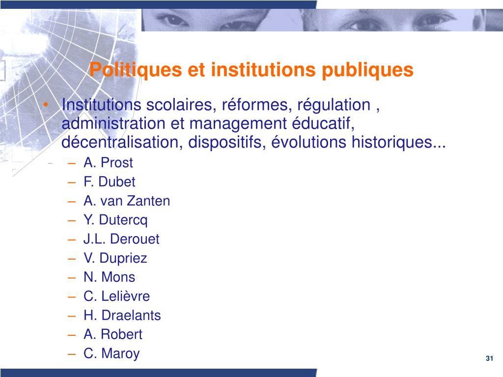 Politiques et institutions publiques