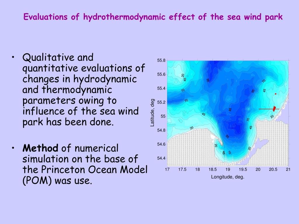 Evaluations of hydrothermodynamic effect of the sea wind park