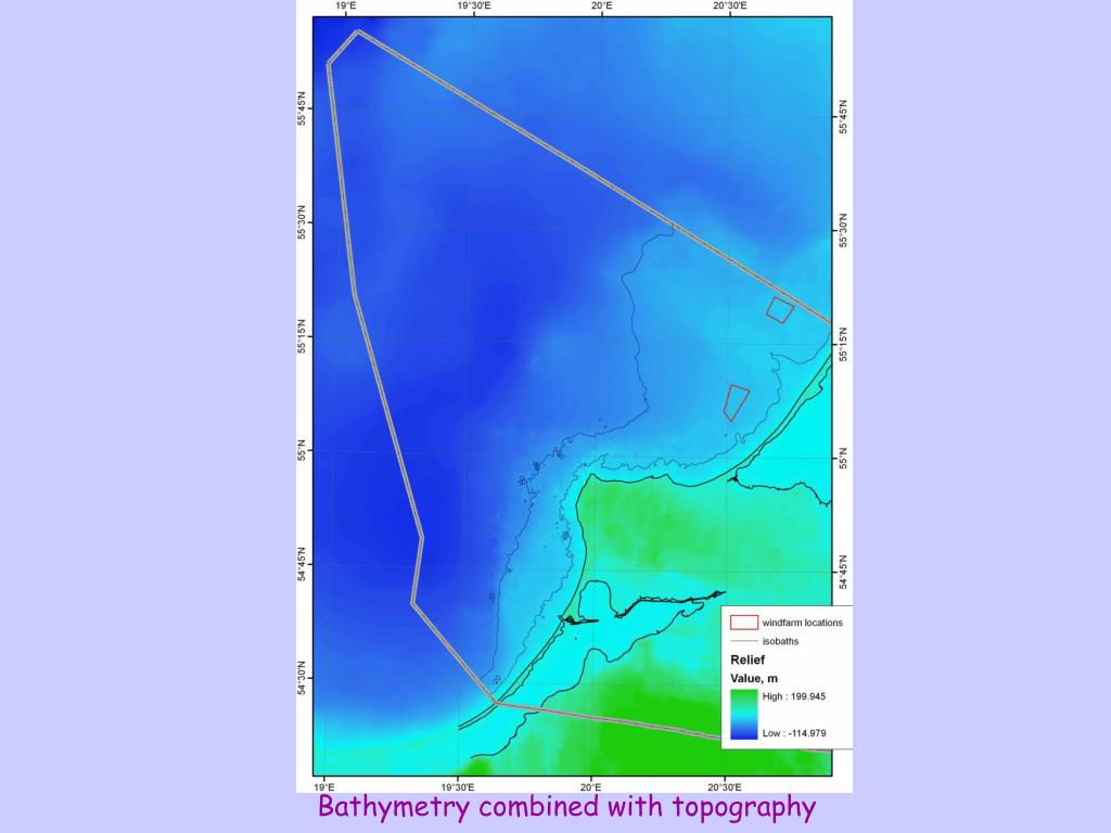 Bathymetry combined with topography