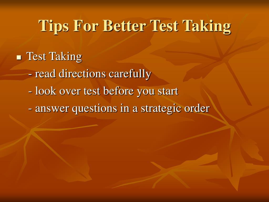 Tips For Better Test Taking