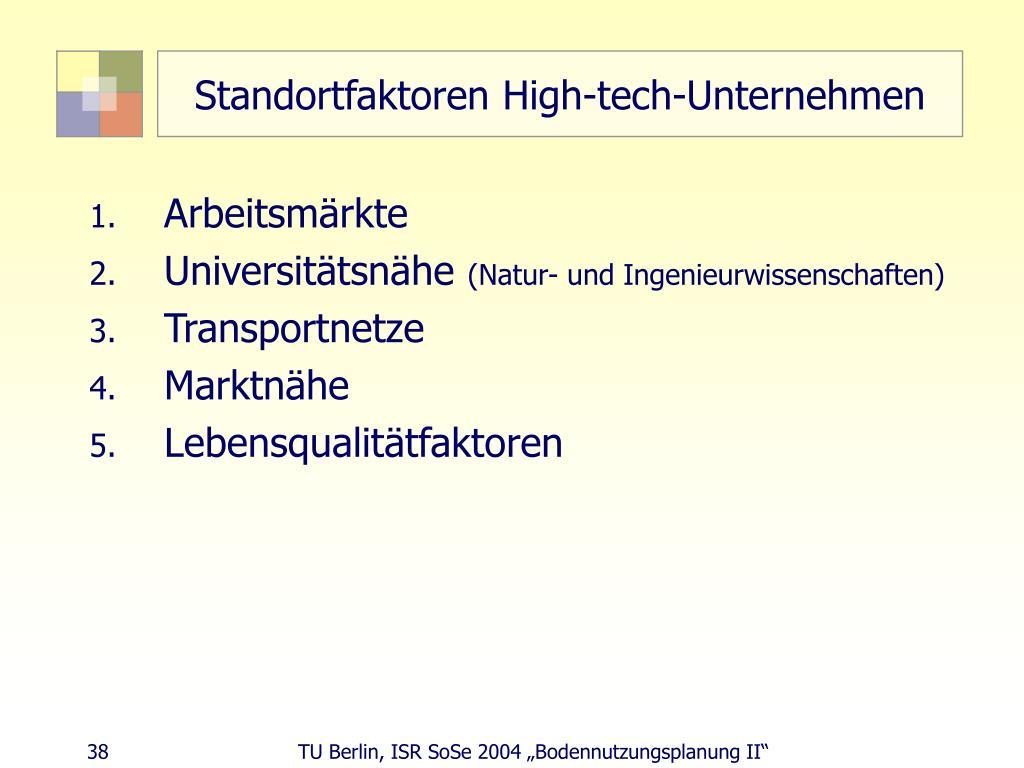 Standortfaktoren High-tech-Unternehmen