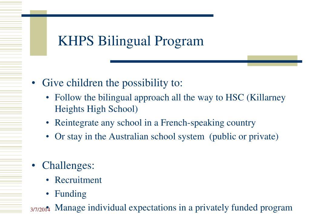 KHPS Bilingual Program