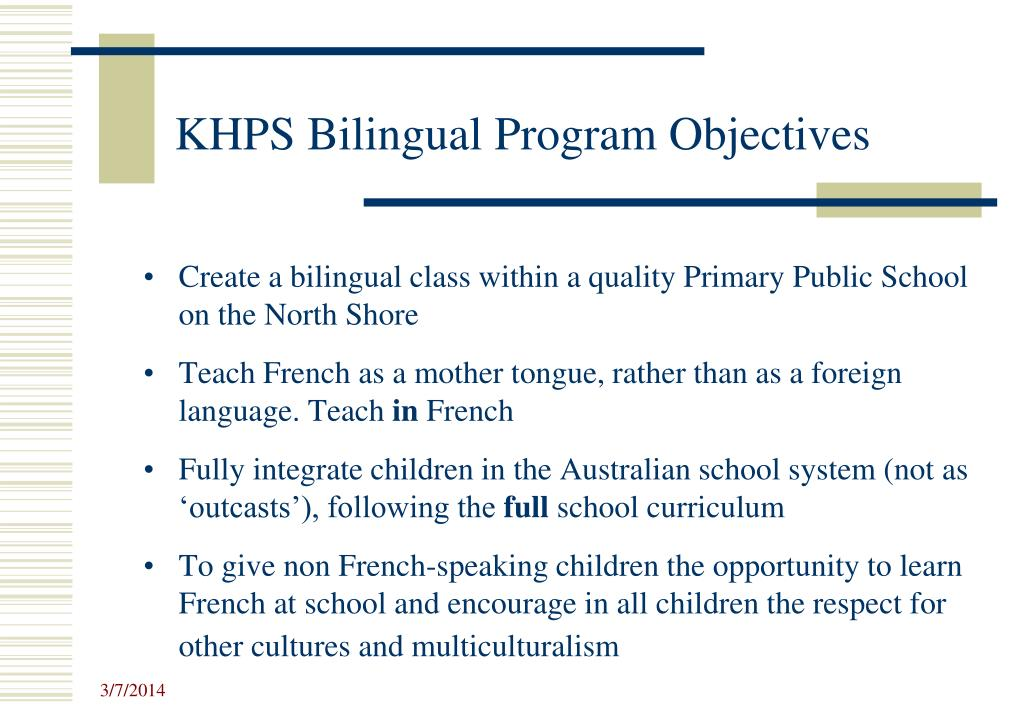 KHPS Bilingual Program Objectives