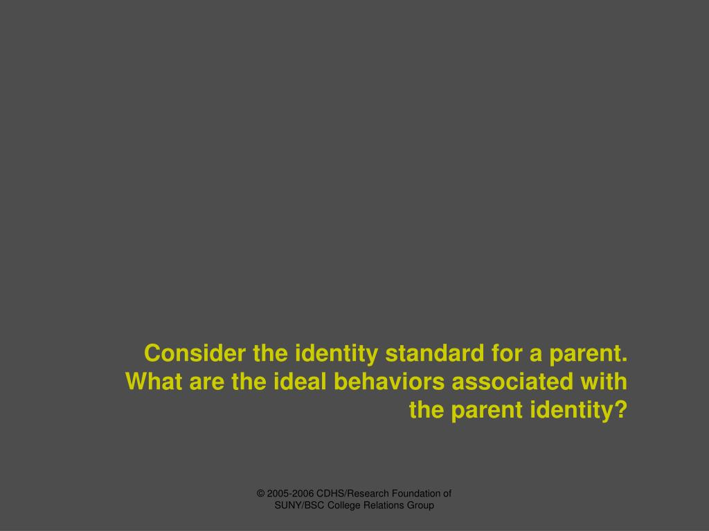 Consider the identity standard for a parent.  What are the ideal behaviors associated with the parent identity?