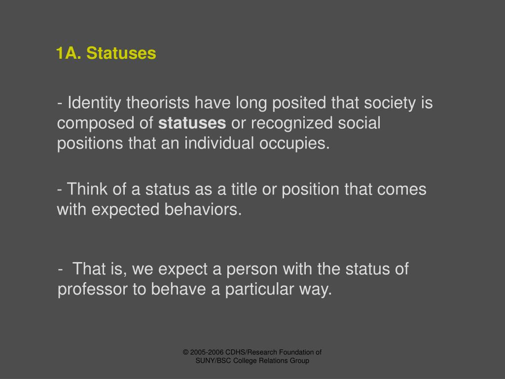 1A. Statuses
