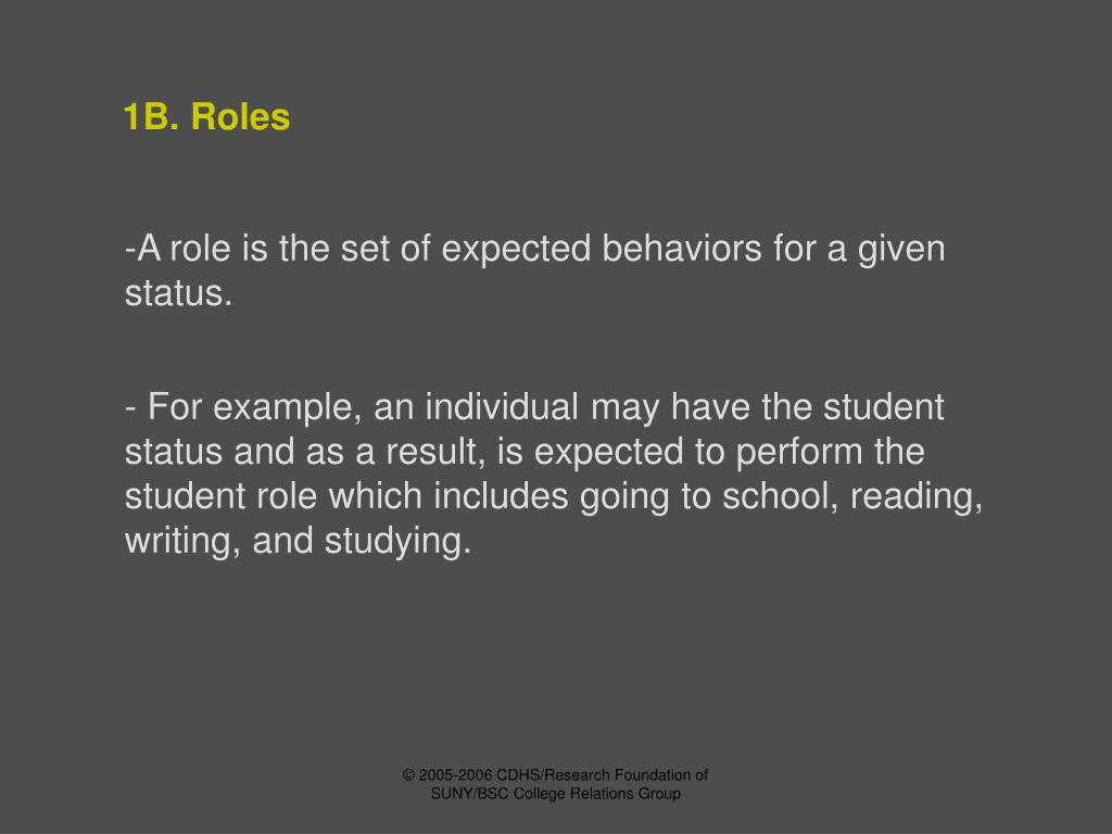 1B. Roles