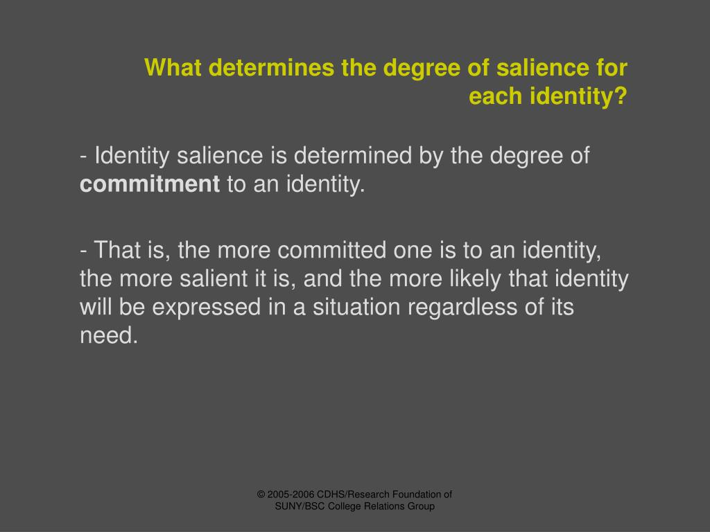 What determines the degree of salience for each identity?