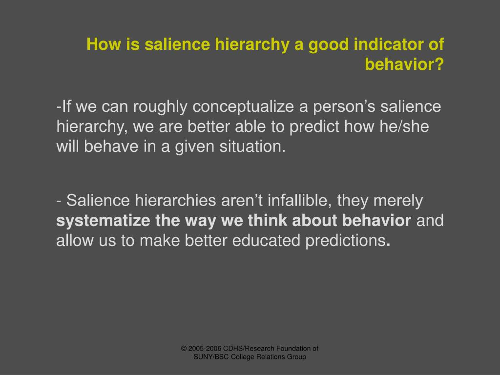 How is salience hierarchy a good indicator of behavior?