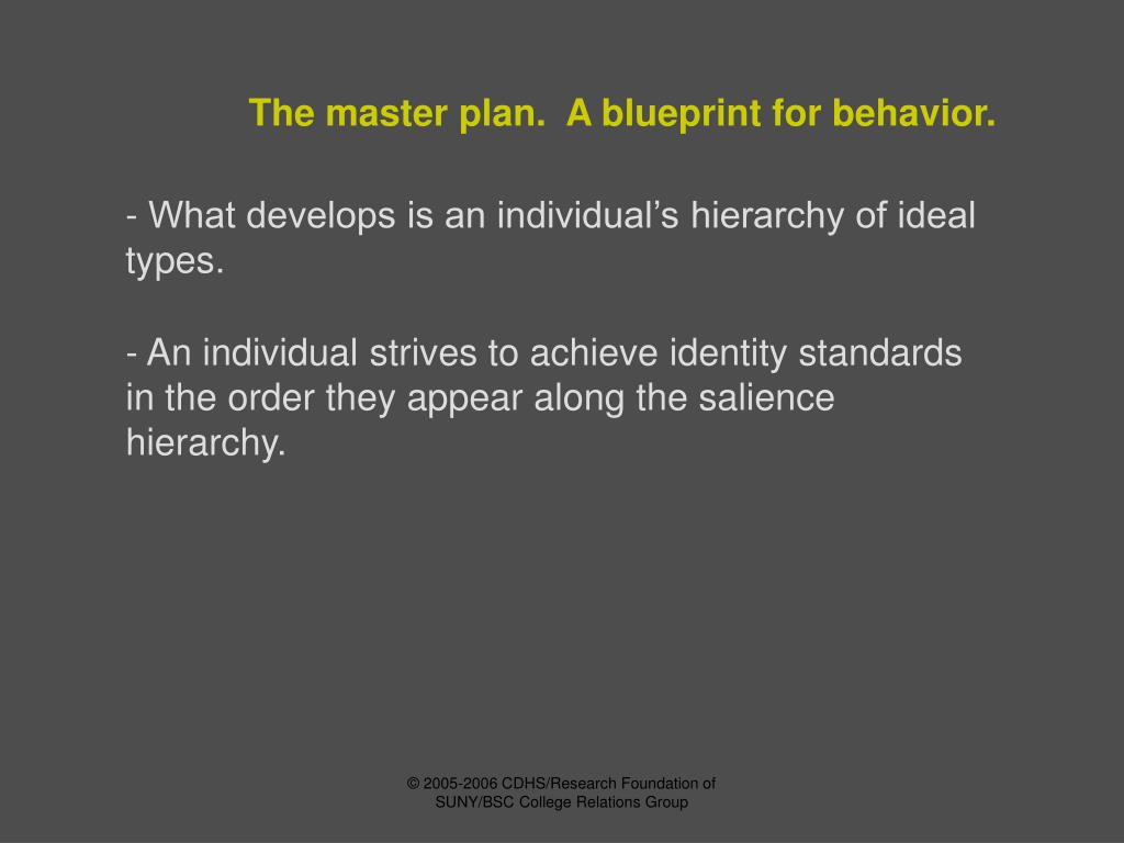 The master plan.  A blueprint for behavior.