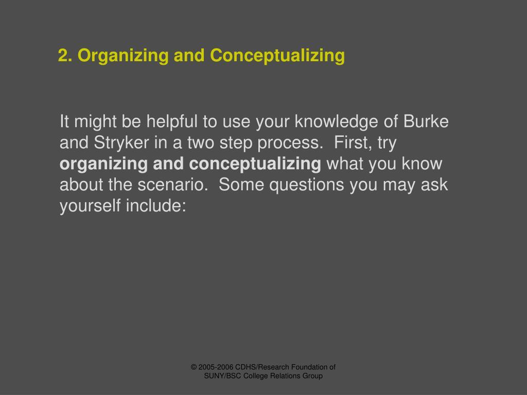 2. Organizing and Conceptualizing