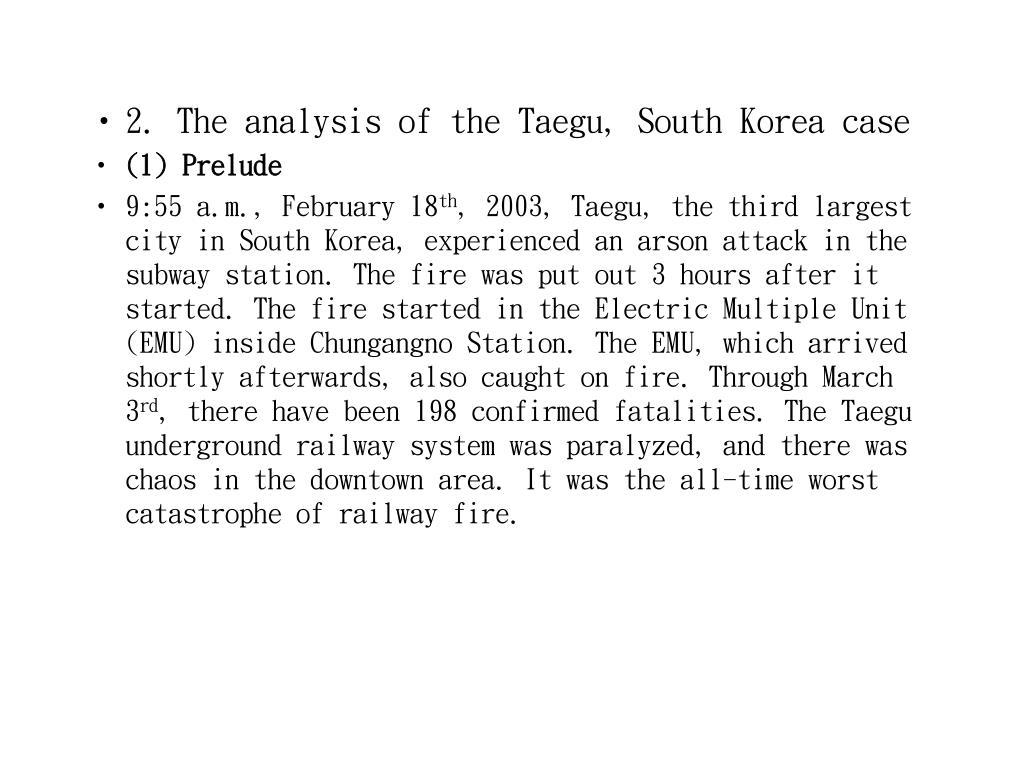 2. The analysis of the Taegu, South Korea case