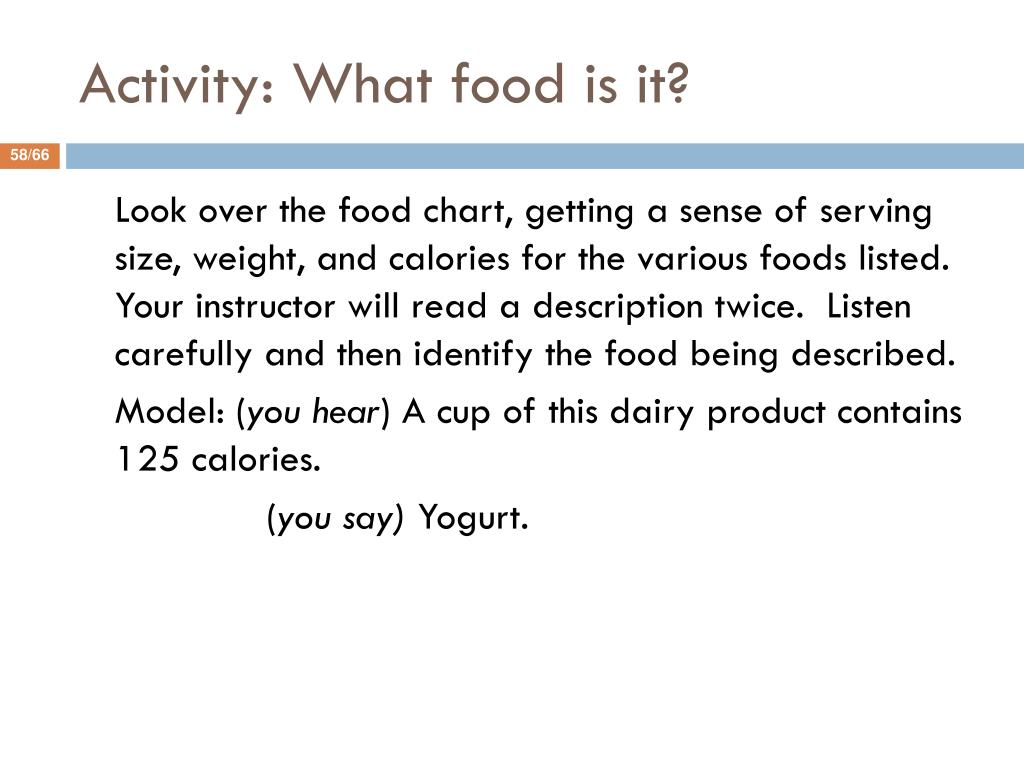 Activity: What food is it?