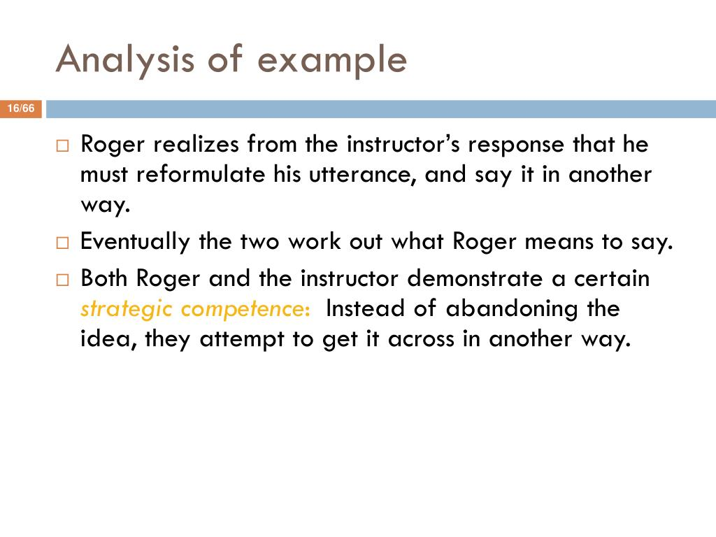 Analysis of example