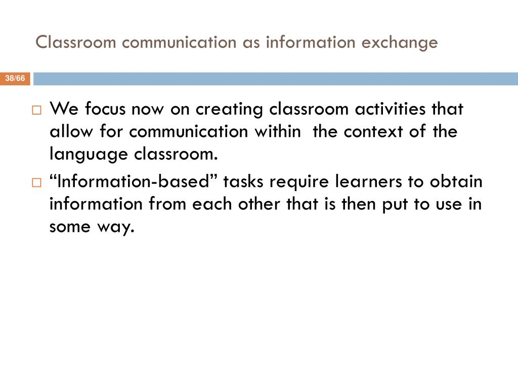 Classroom communication as information exchange