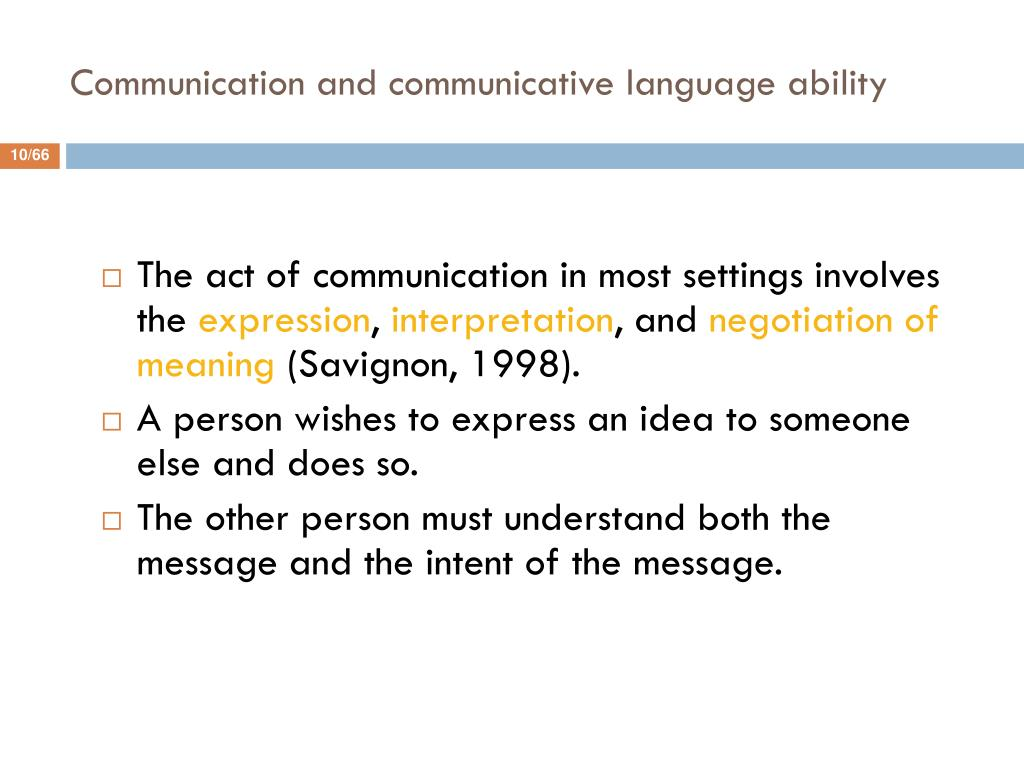 Communication and communicative language ability
