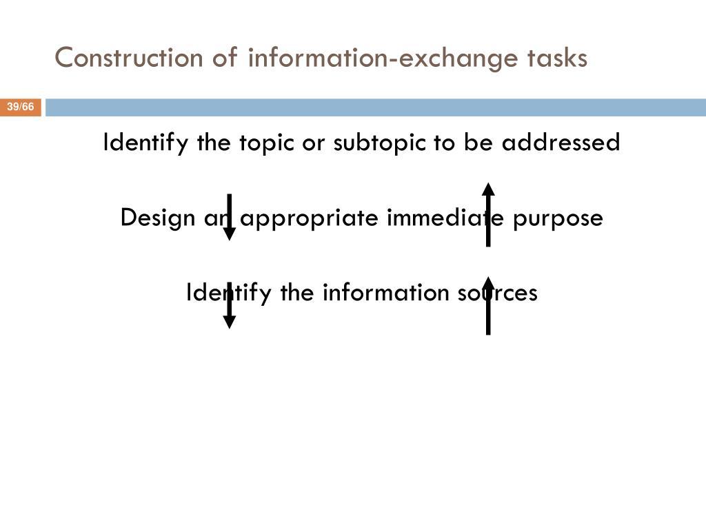Construction of information-exchange tasks