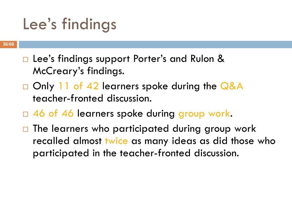 Lee's findings