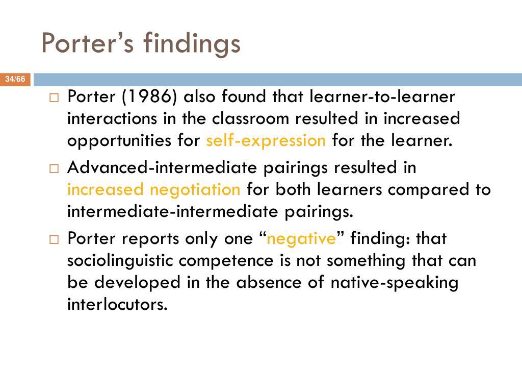Porter's findings