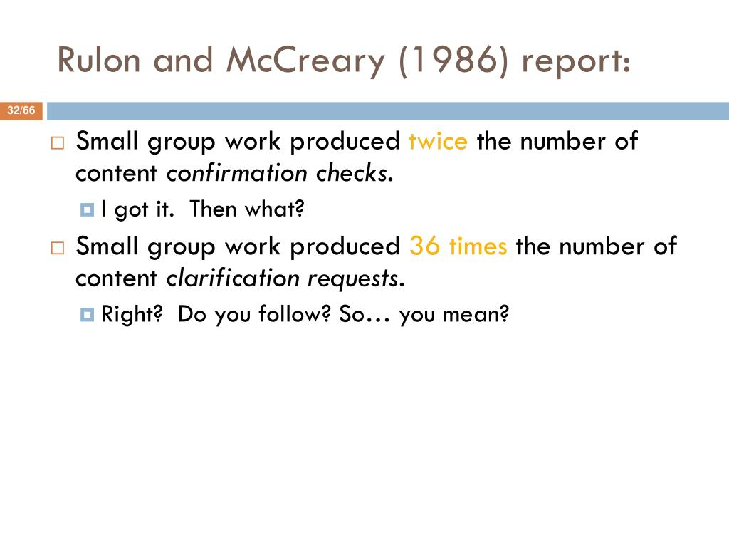 Rulon and McCreary (1986) report:
