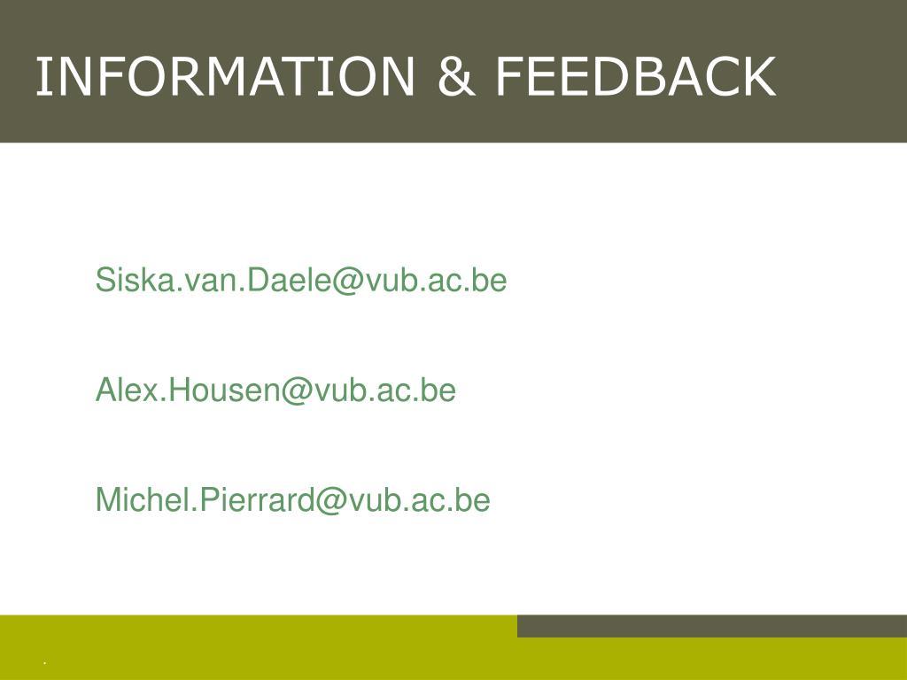 INFORMATION & FEEDBACK