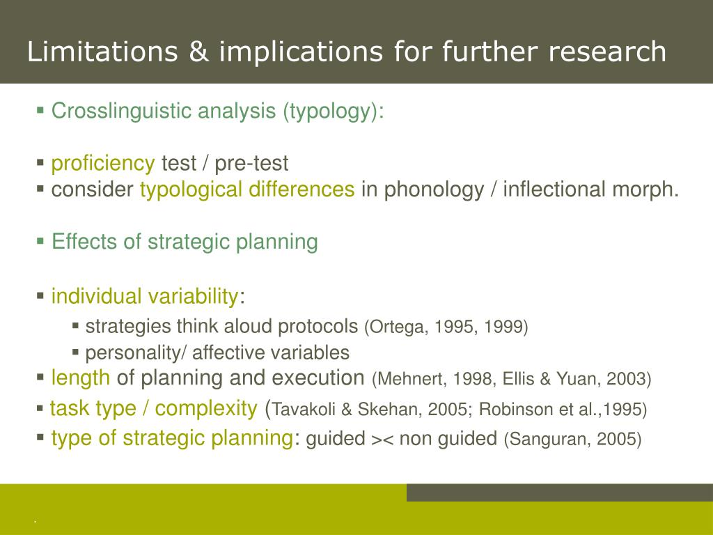 Limitations & implications for further research
